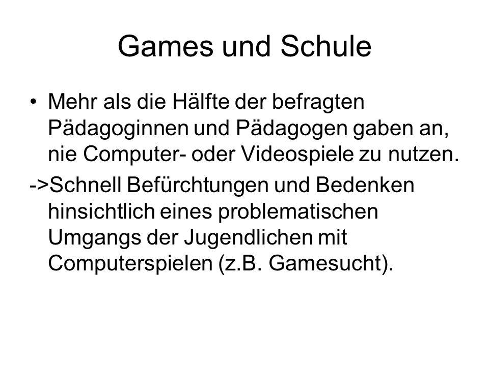 Games und Schule Mehr als die Hälfte der befragten Pädagoginnen und Pädagogen gaben an, nie Computer- oder Videospiele zu nutzen.