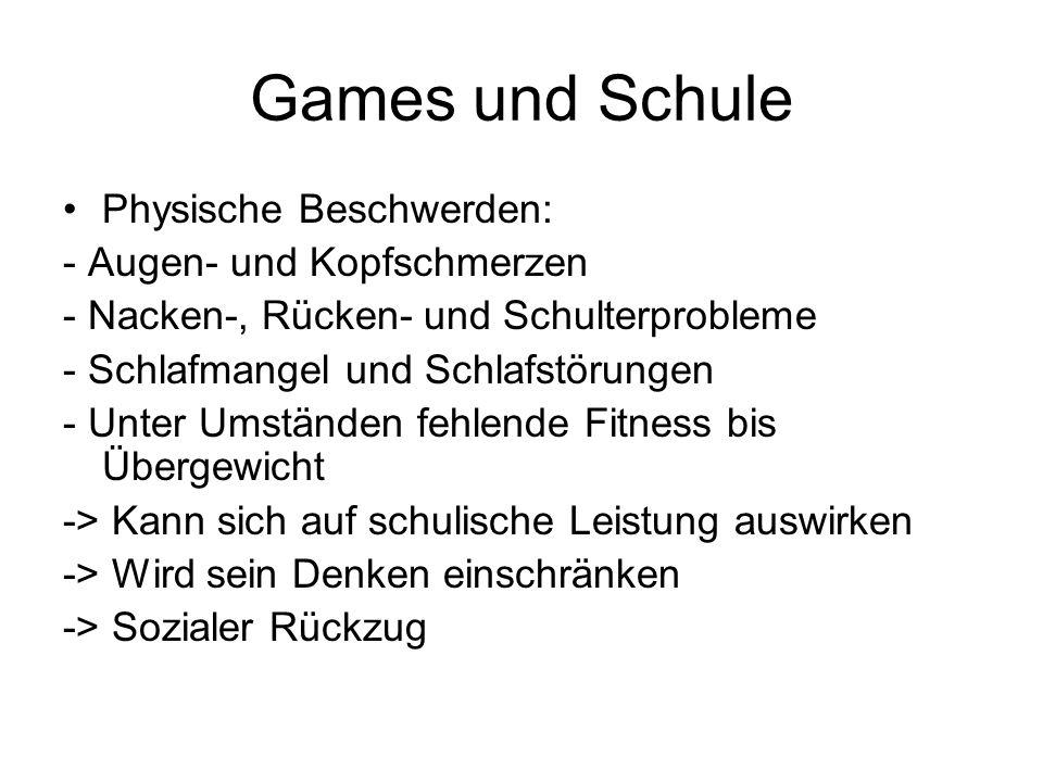 Games und Schule Physische Beschwerden: - Augen- und Kopfschmerzen