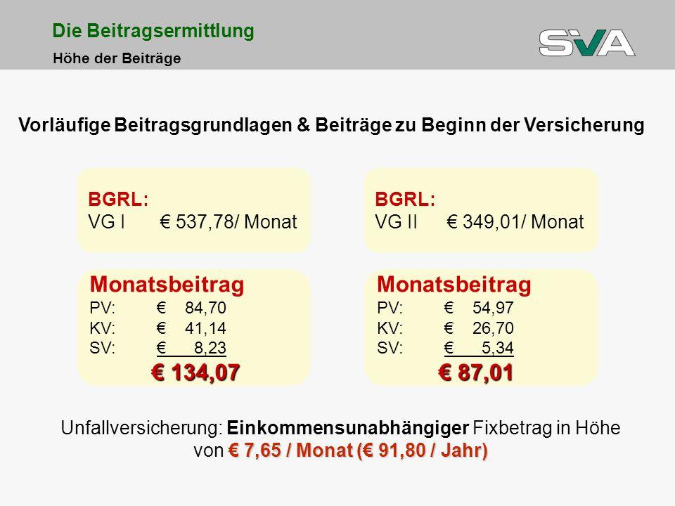 Monatsbeitrag € 134,07 Monatsbeitrag € 87,01