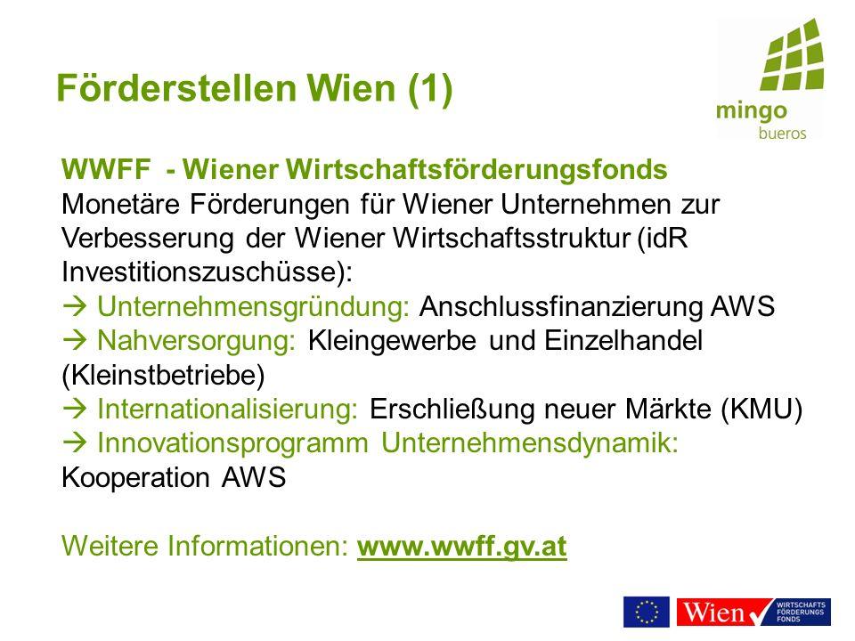 Förderstellen Wien (1) WWFF - Wiener Wirtschaftsförderungsfonds.