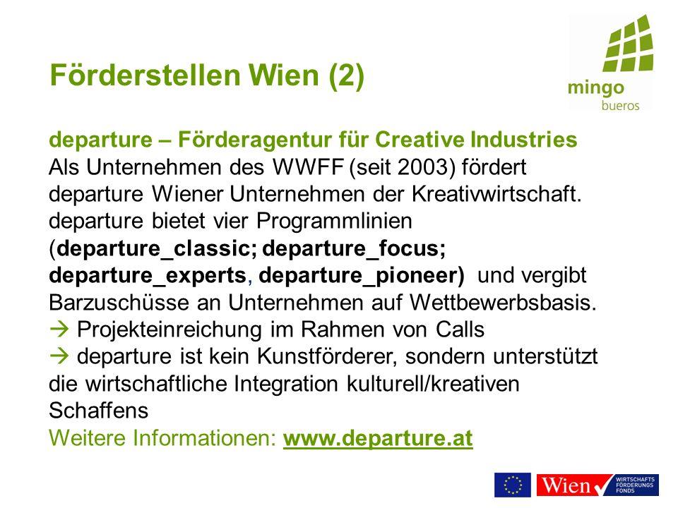 Förderstellen Wien (2) departure – Förderagentur für Creative Industries.