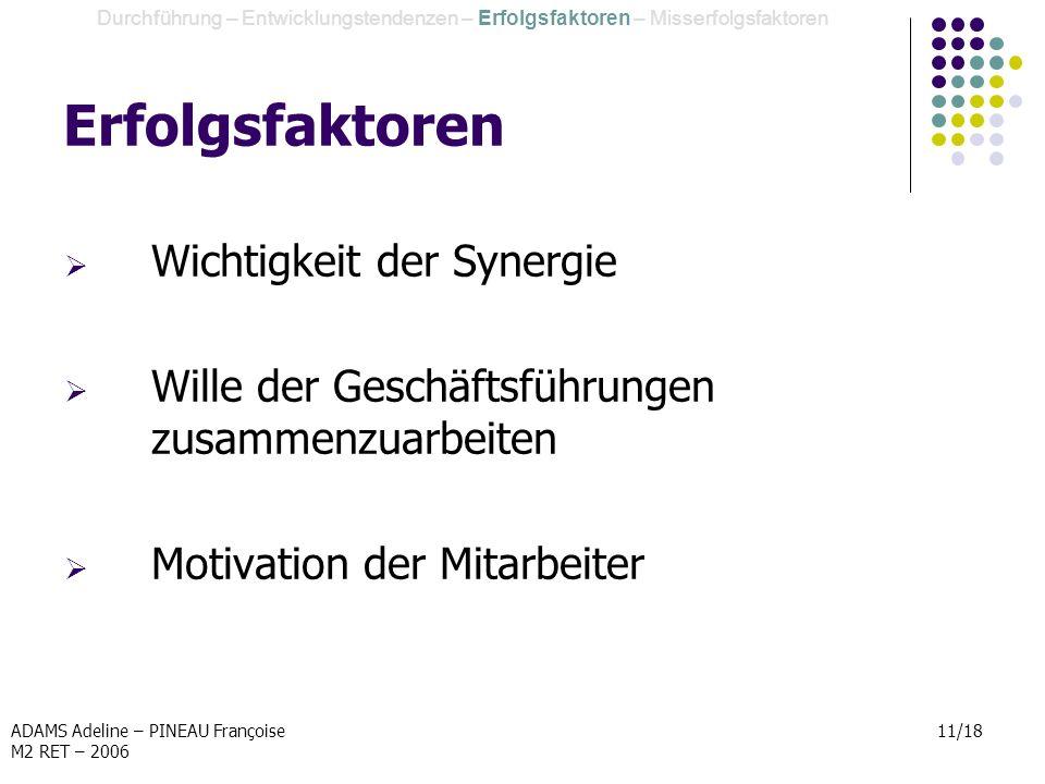 Erfolgsfaktoren Wichtigkeit der Synergie
