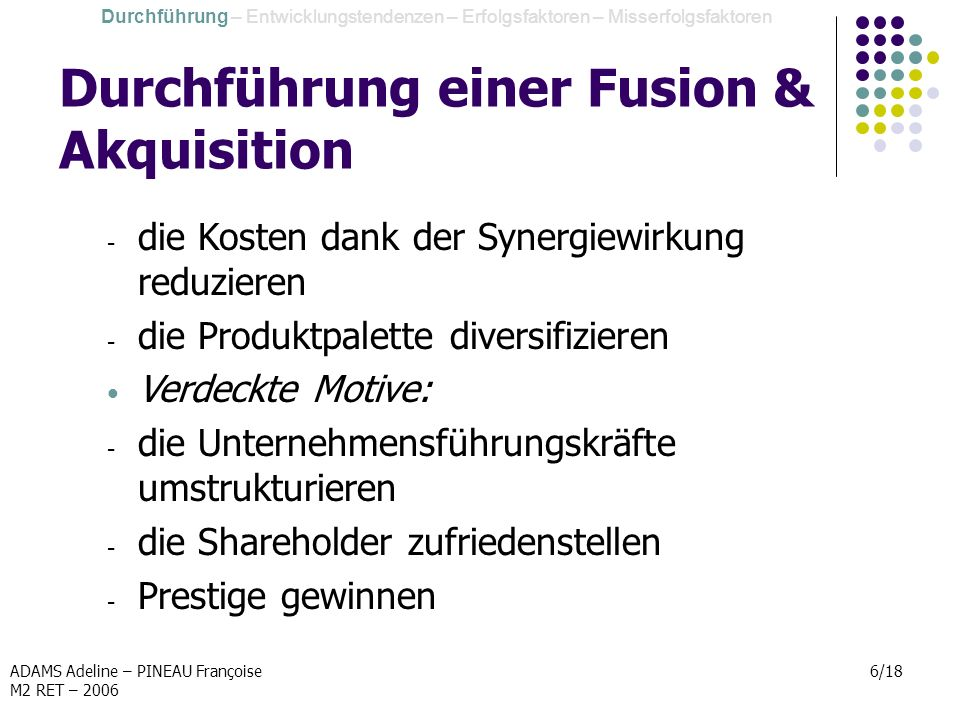 Durchführung einer Fusion & Akquisition