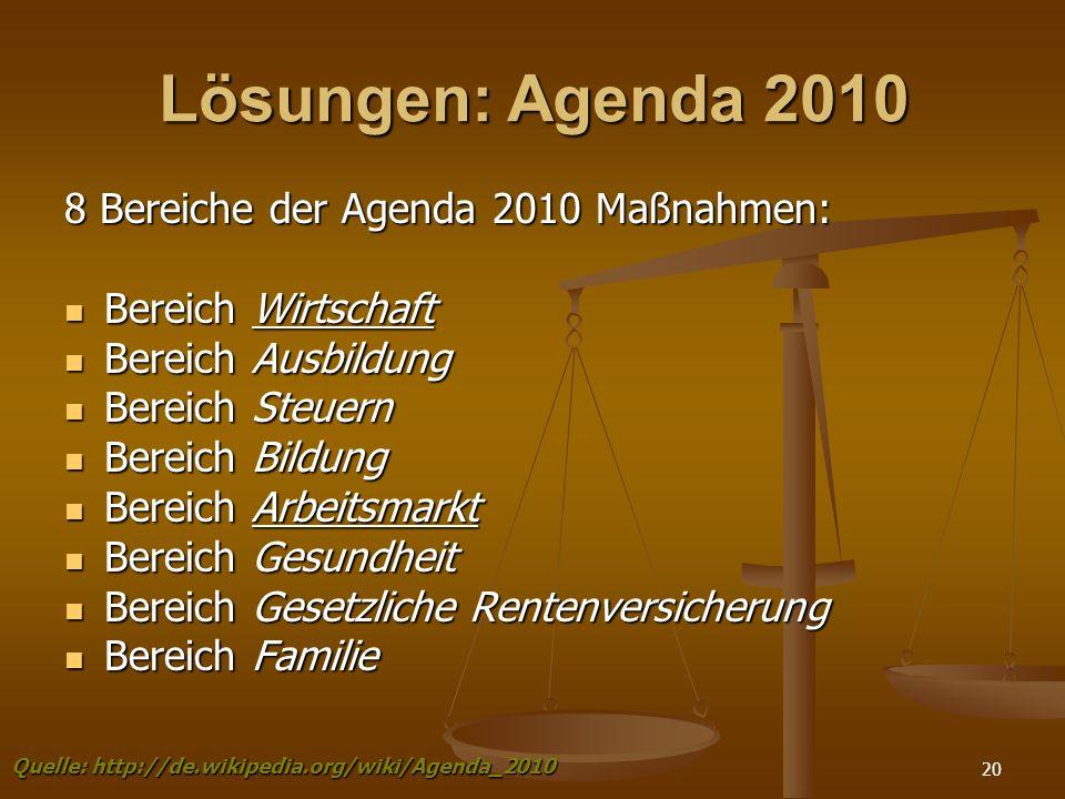 Lösungen: Agenda 2010 8 Bereiche der Agenda 2010 Maßnahmen: