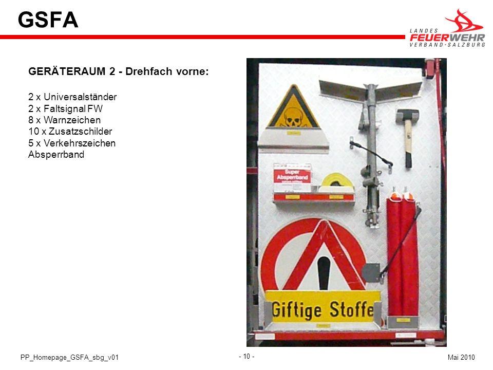 GSFA GERÄTERAUM 2 - Drehfach vorne: 2 x Universalständer
