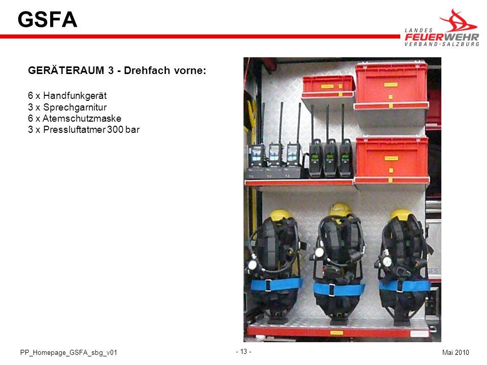 GSFA GERÄTERAUM 3 - Drehfach vorne: 6 x Handfunkgerät