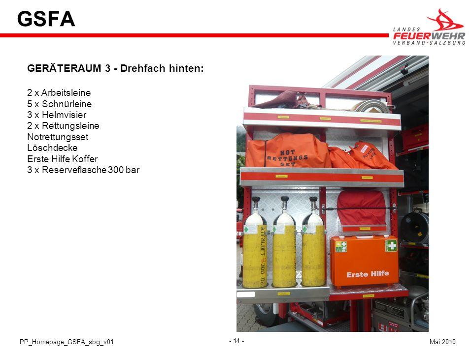 GSFA GERÄTERAUM 3 - Drehfach hinten: 2 x Arbeitsleine 5 x Schnürleine