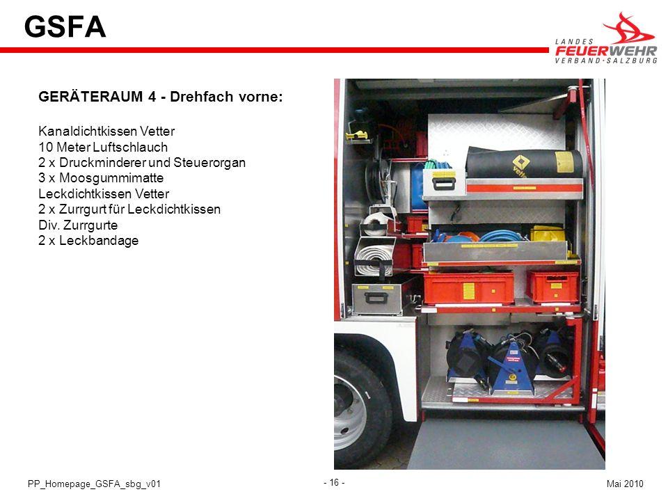GSFA GERÄTERAUM 4 - Drehfach vorne: Kanaldichtkissen Vetter