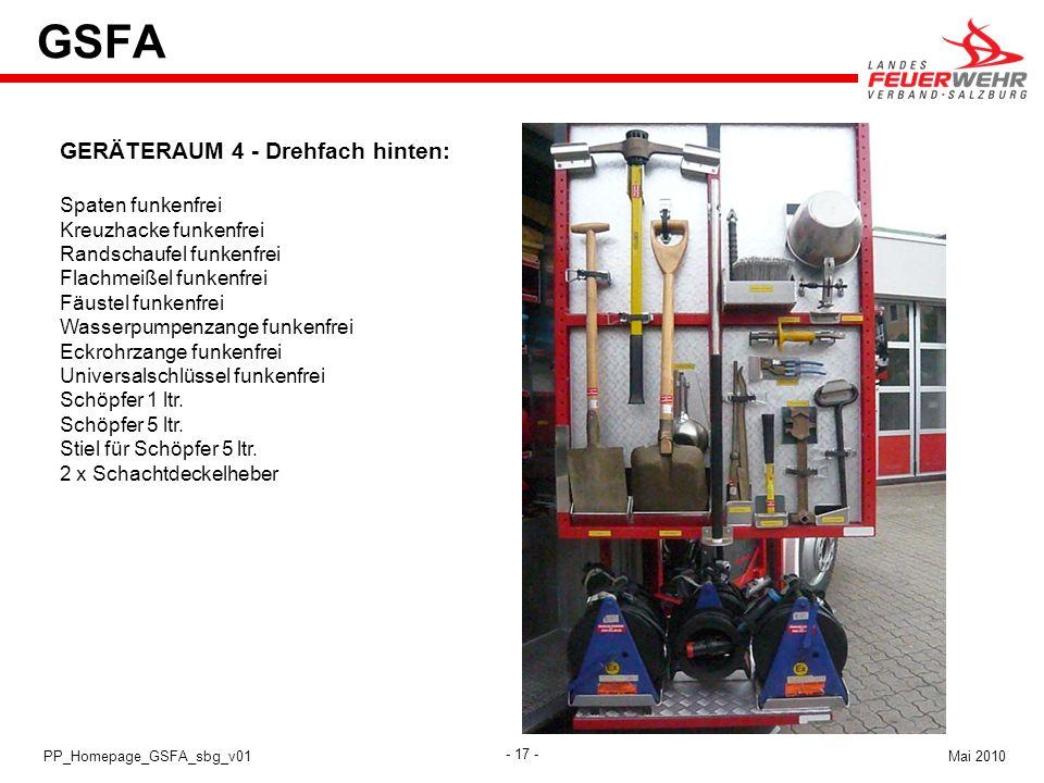 GSFA GERÄTERAUM 4 - Drehfach hinten: Spaten funkenfrei