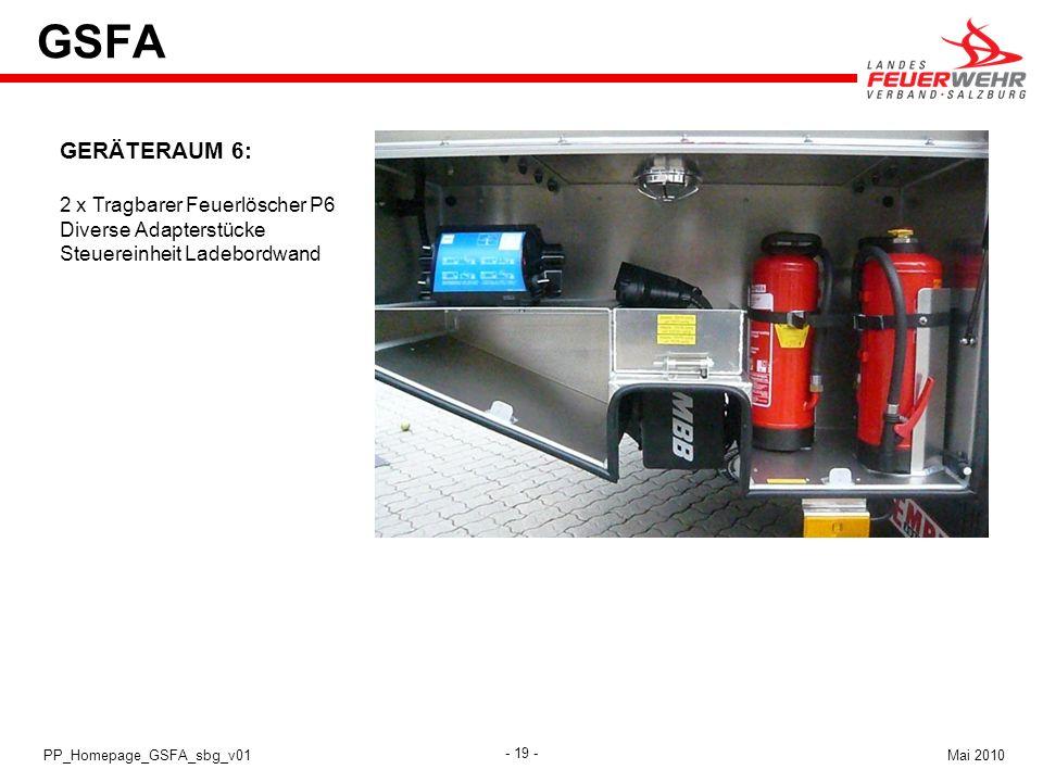 GSFA GERÄTERAUM 6: 2 x Tragbarer Feuerlöscher P6 Diverse Adapterstücke