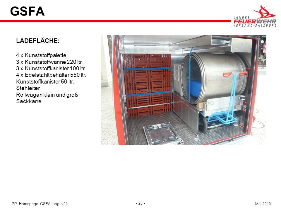 GSFA LADEFLÄCHE: 4 x Kunststoffpalette 3 x Kunststoffwanne 220 ltr.