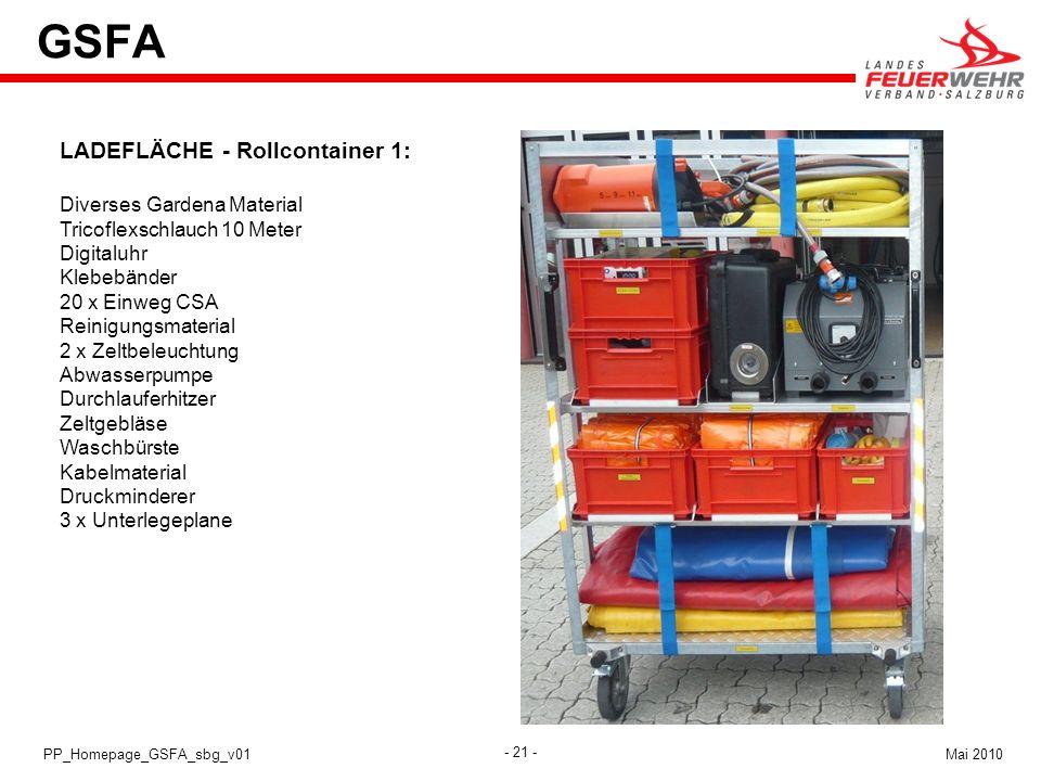 GSFA LADEFLÄCHE - Rollcontainer 1: Diverses Gardena Material