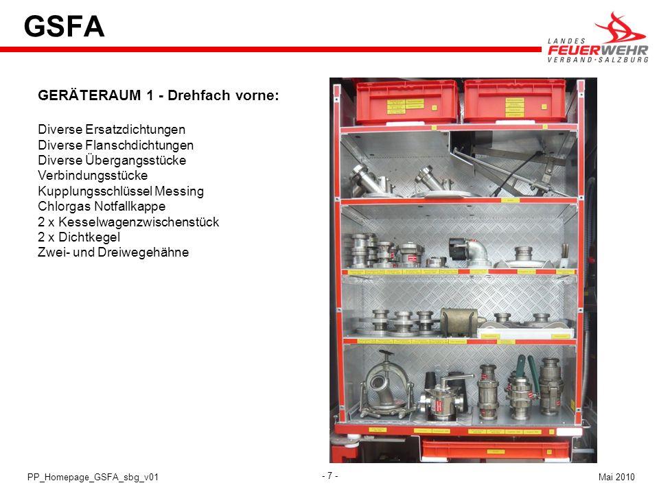 GSFA GERÄTERAUM 1 - Drehfach vorne: Diverse Ersatzdichtungen