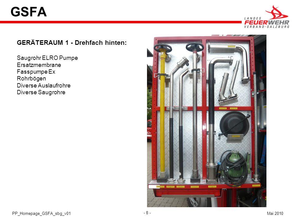 GSFA GERÄTERAUM 1 - Drehfach hinten: Saugrohr ELRO Pumpe