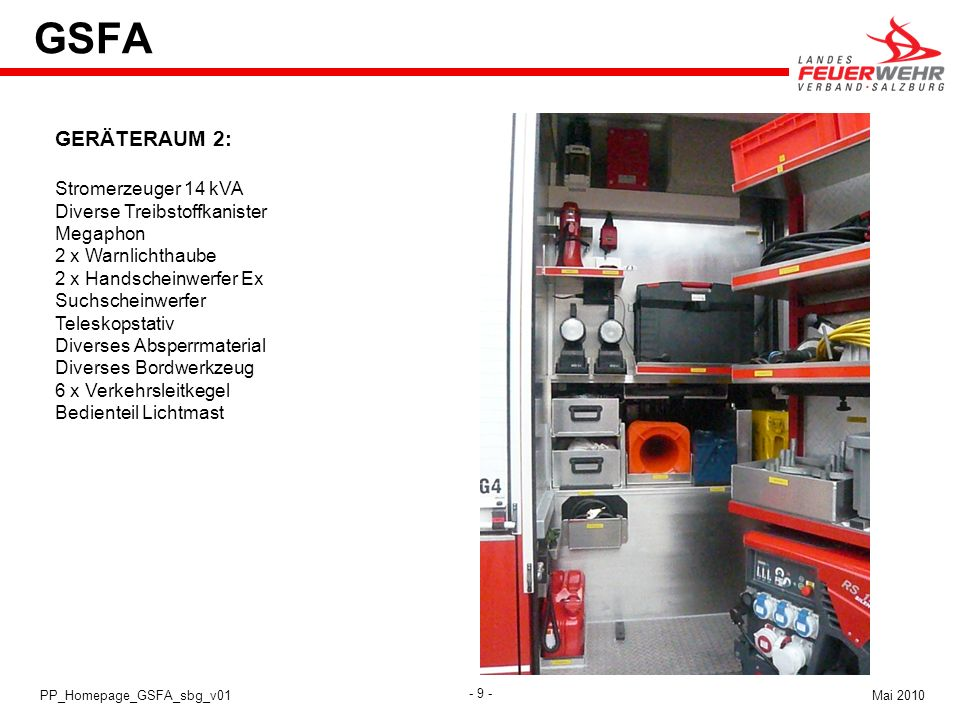 GSFA GERÄTERAUM 2: Stromerzeuger 14 kVA Diverse Treibstoffkanister