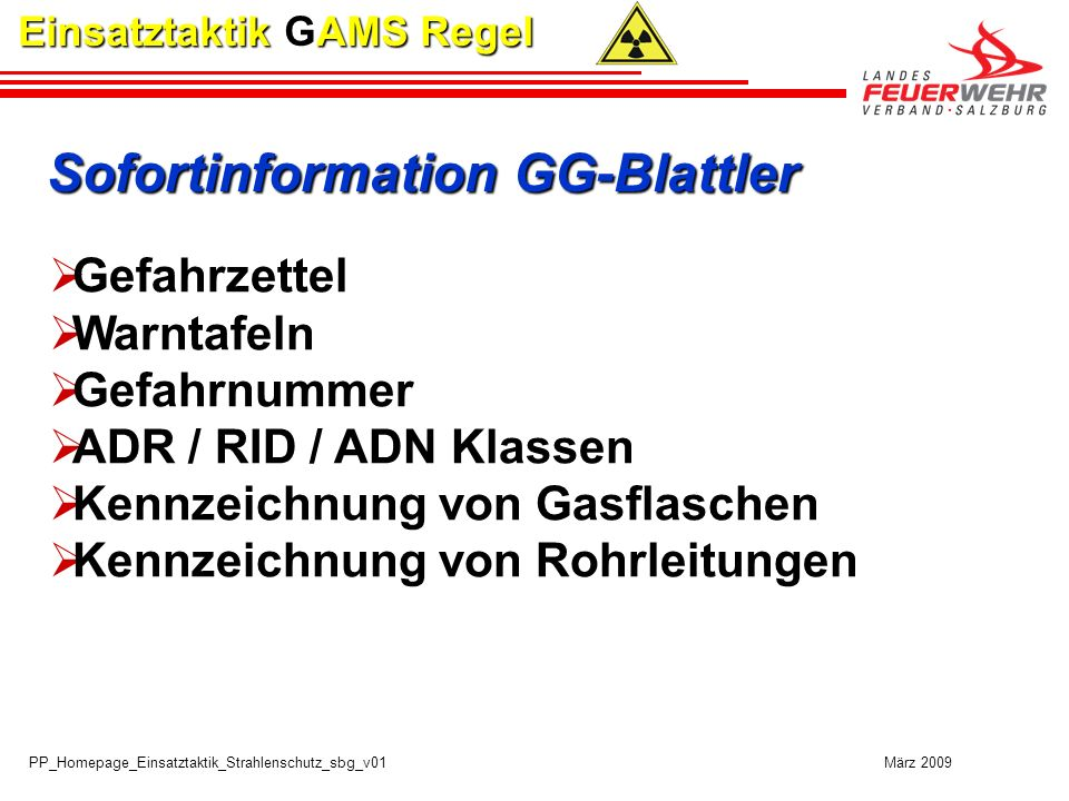 Sofortinformation GG-Blattler