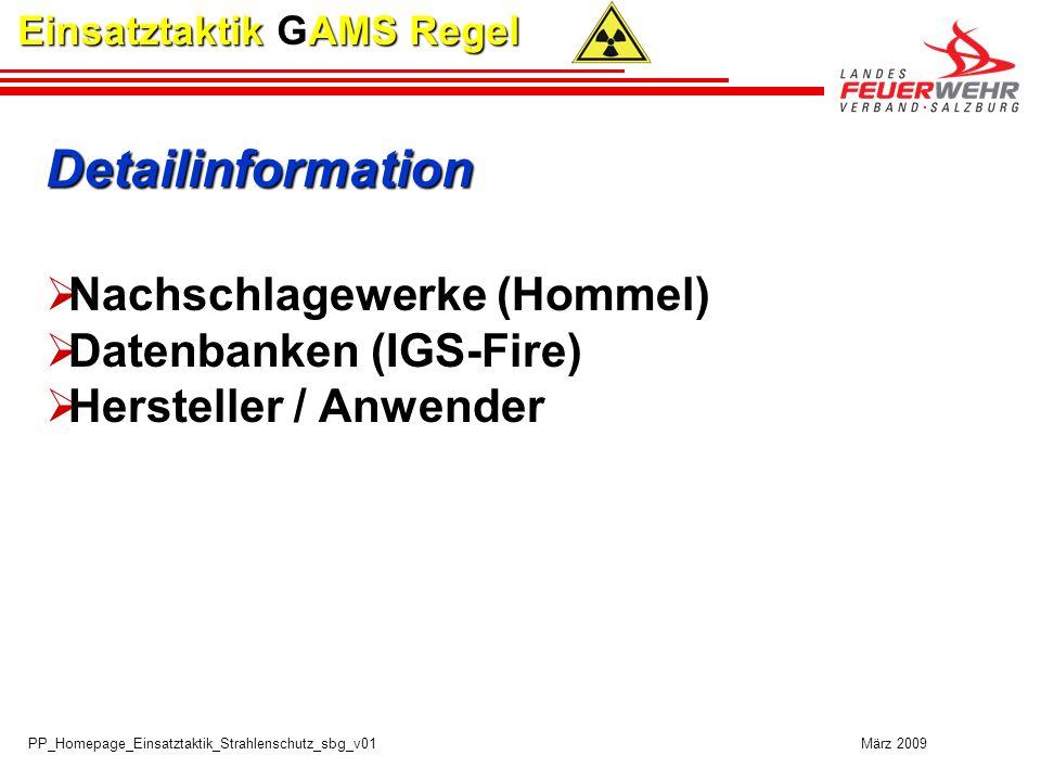 Detailinformation Nachschlagewerke (Hommel) Datenbanken (IGS-Fire)