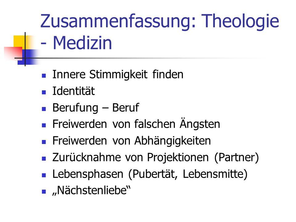 Zusammenfassung: Theologie - Medizin
