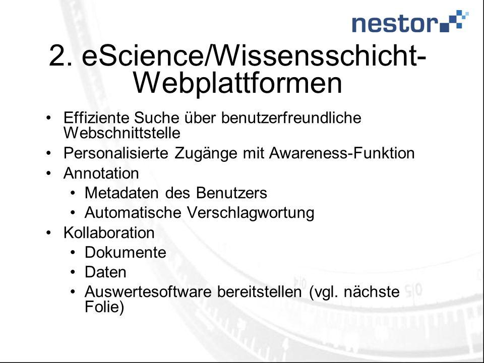 2. eScience/Wissensschicht- Webplattformen