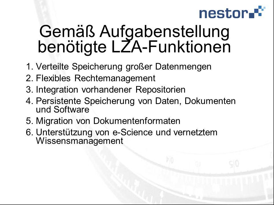 Gemäß Aufgabenstellung benötigte LZA-Funktionen