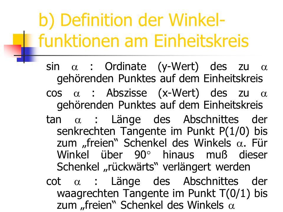 b) Definition der Winkel-funktionen am Einheitskreis