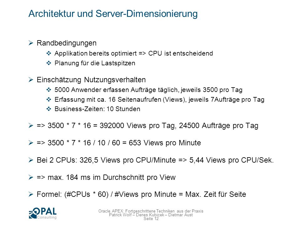 Architektur und Server-Dimensionierung