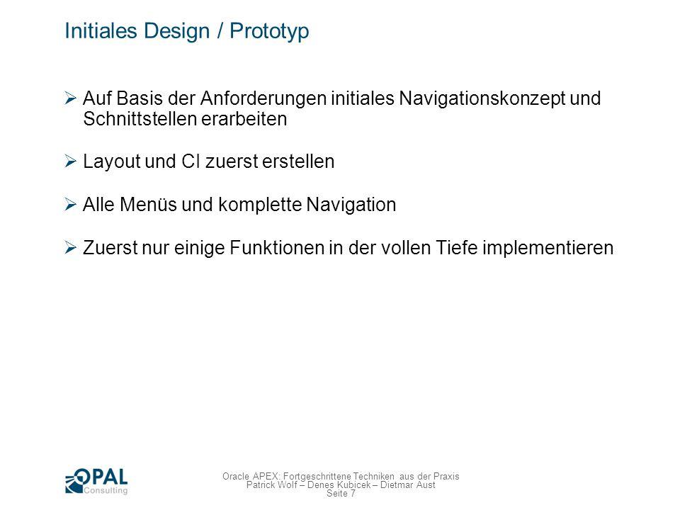 Initiales Design / Prototyp Navigation / Dialog