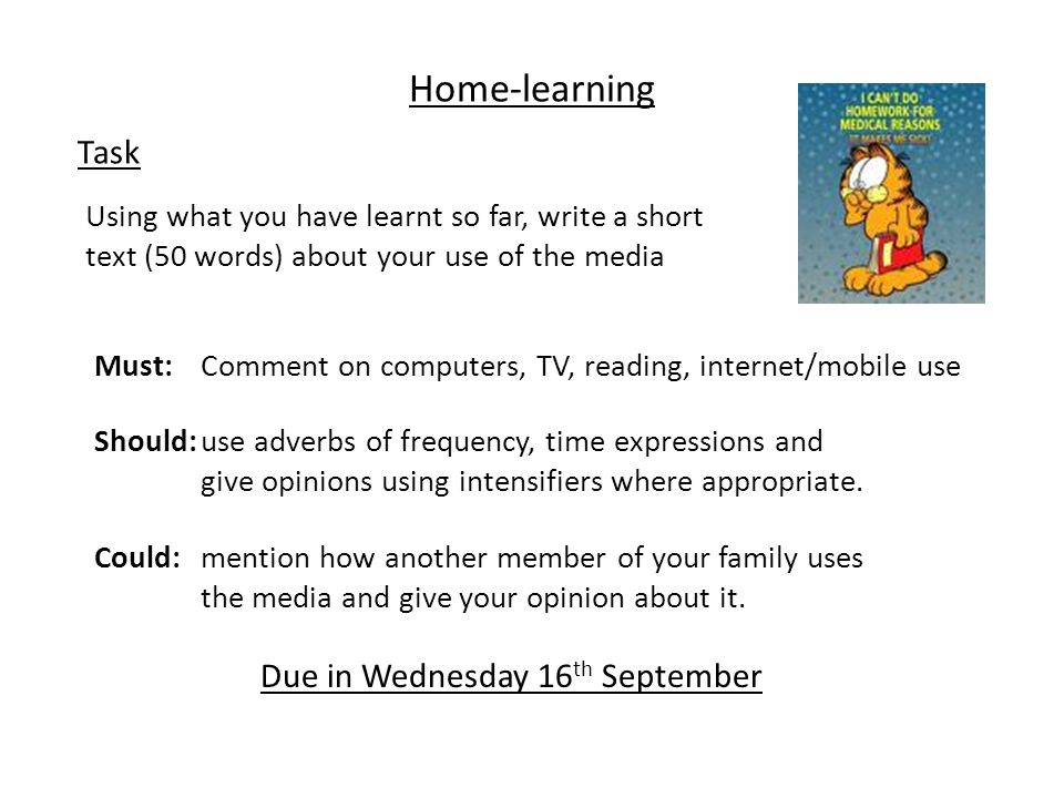 Home-learning Task Due in Wednesday 16th September