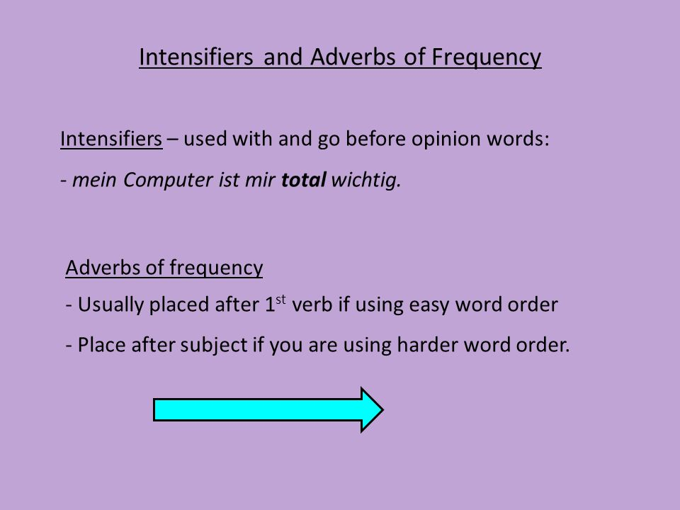 Intensifiers and Adverbs of Frequency