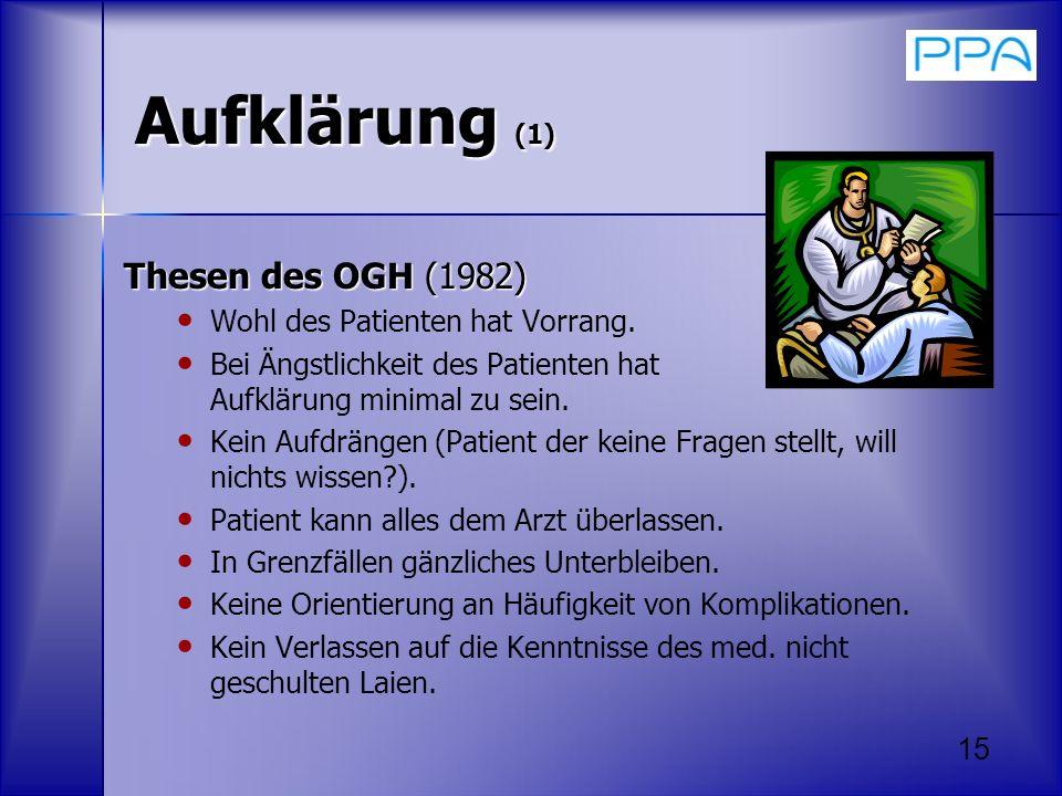 Aufklärung (1) Thesen des OGH (1982) Wohl des Patienten hat Vorrang.