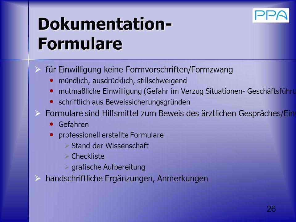 Dokumentation-Formulare