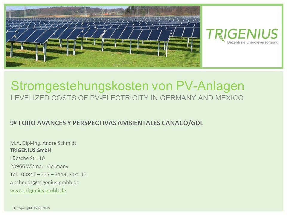 Stromgestehungskosten von PV-Anlagen