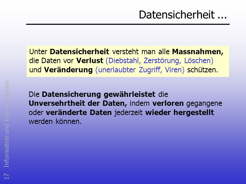 Datensicherheit ...