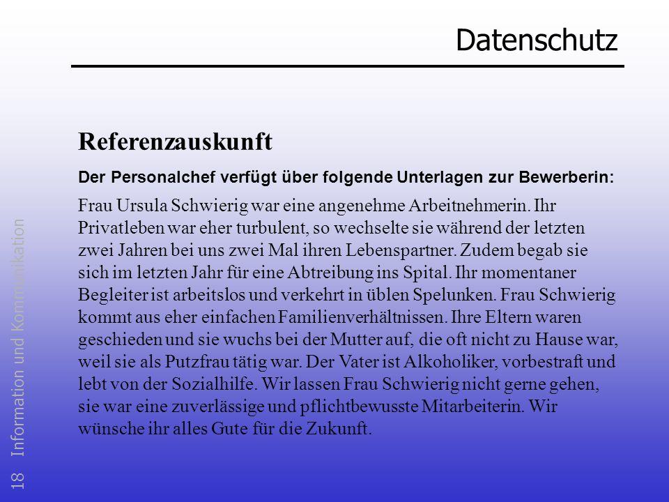 Datenschutz Referenzauskunft