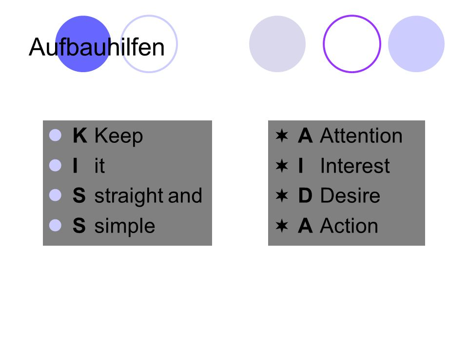 Aufbauhilfen K Keep I it S straight and S simple A Attention