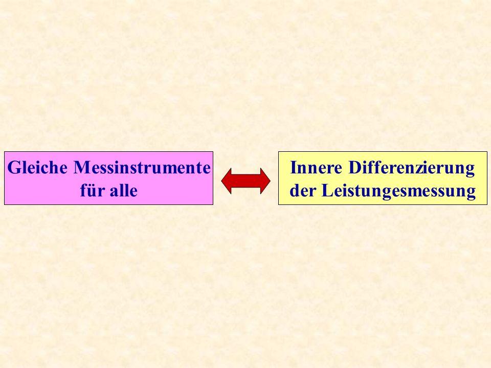Gleiche Messinstrumente Innere Differenzierung der Leistungesmessung