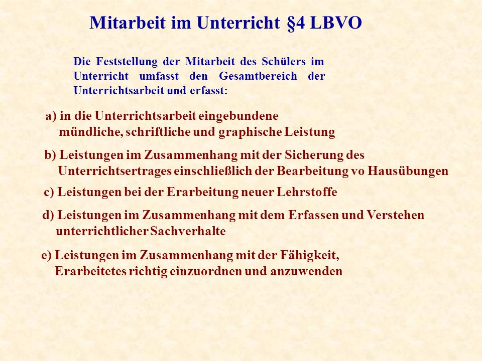 Mitarbeit im Unterricht §4 LBVO