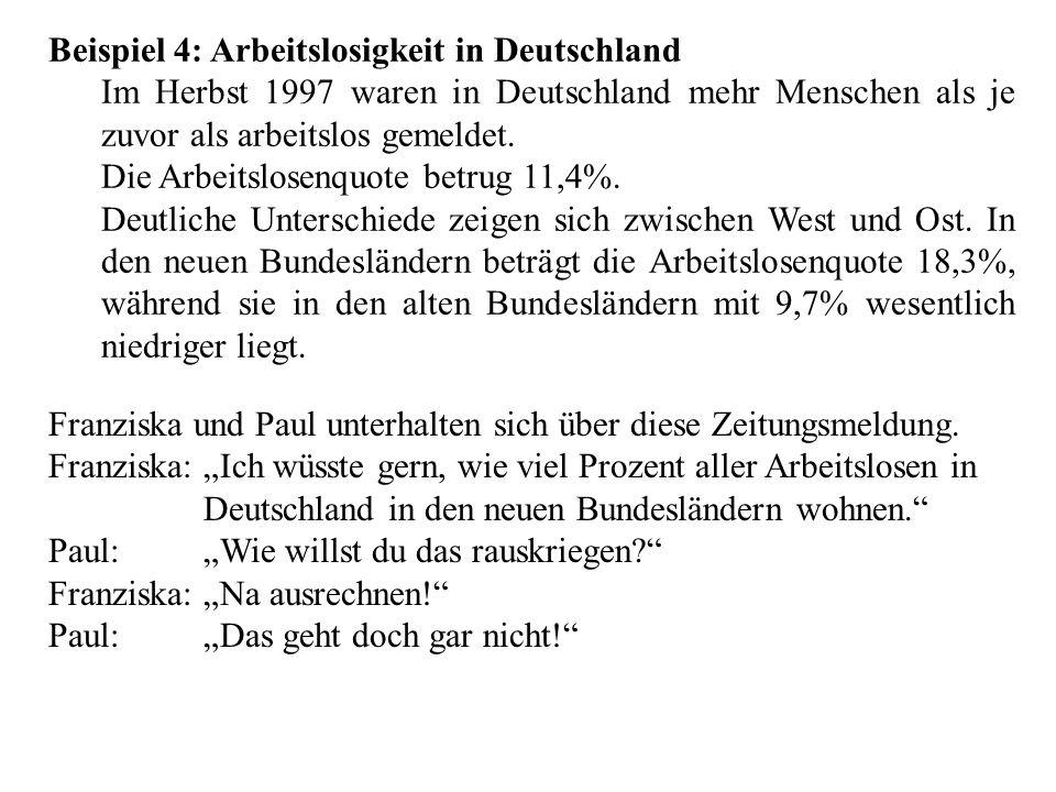 Beispiel 4: Arbeitslosigkeit in Deutschland