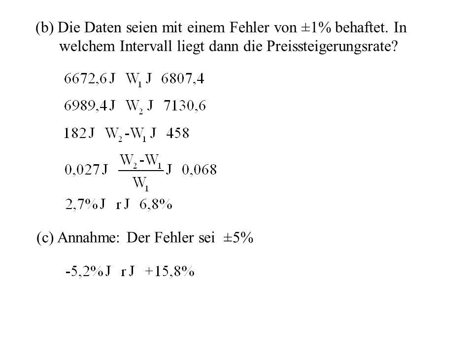 (b) Die Daten seien mit einem Fehler von ±1% behaftet