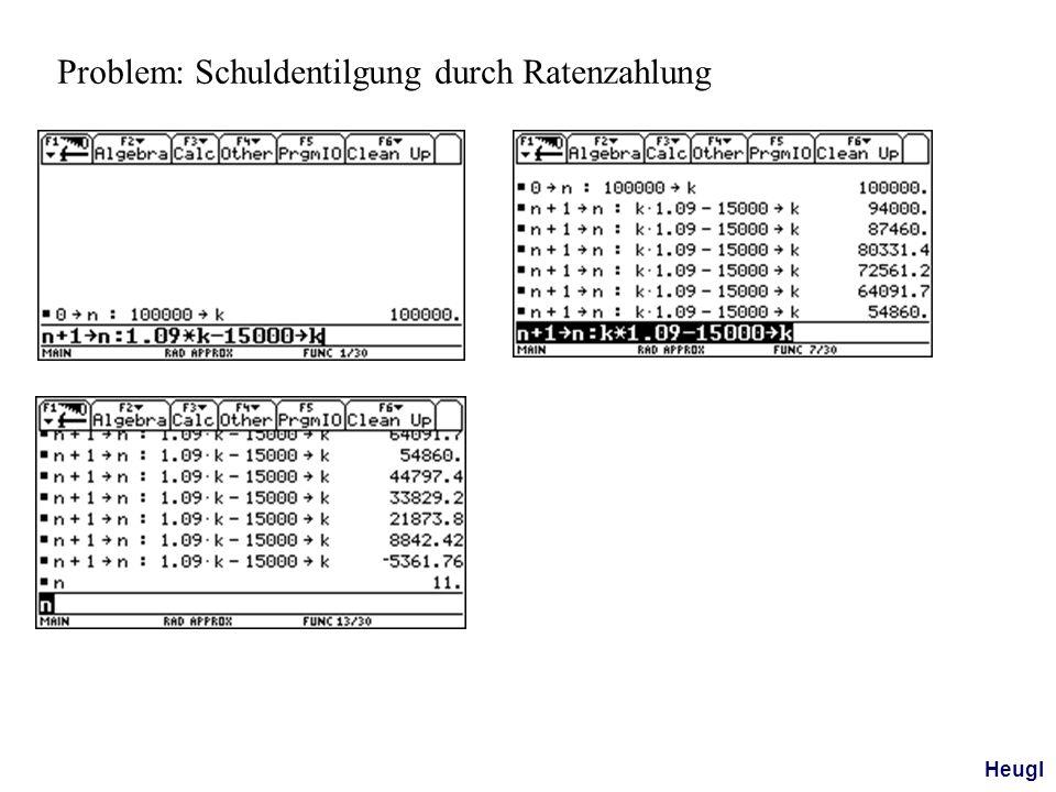 Problem: Schuldentilgung durch Ratenzahlung