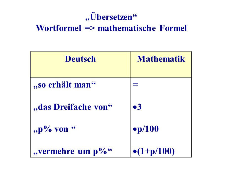 Wortformel => mathematische Formel