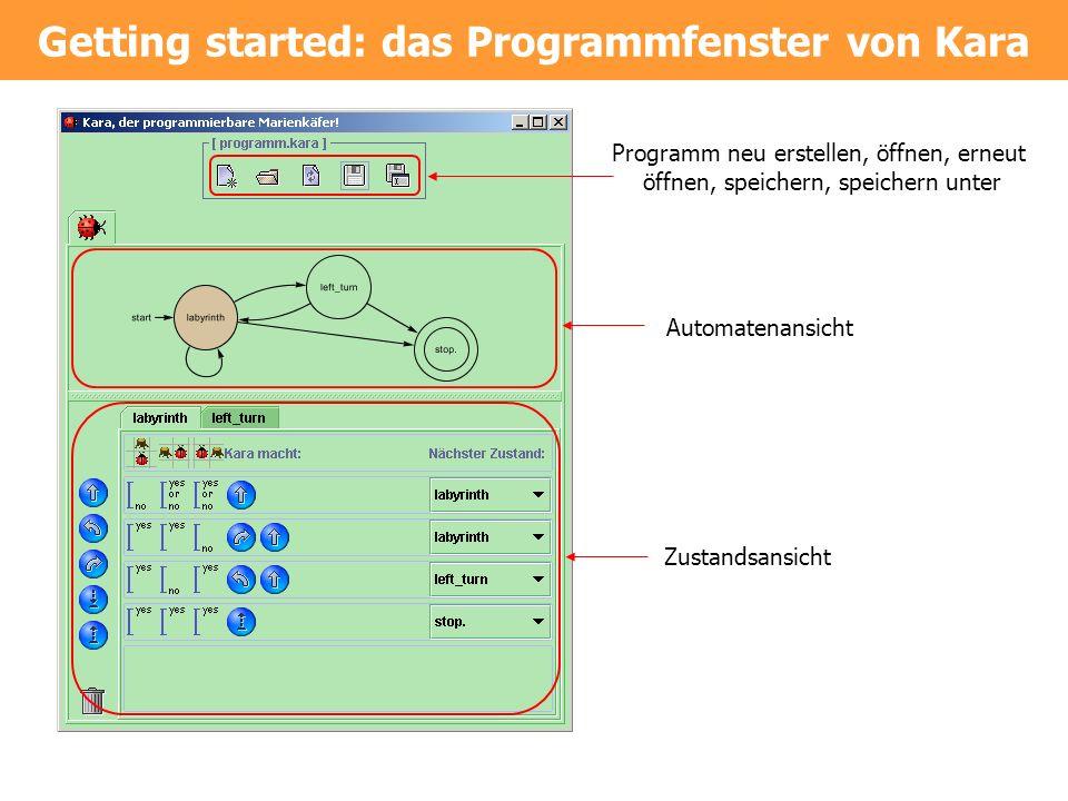 Getting started: das Programmfenster von Kara