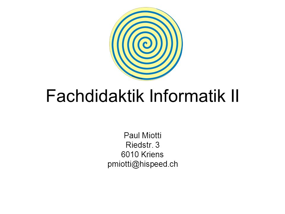 Fachdidaktik Informatik II