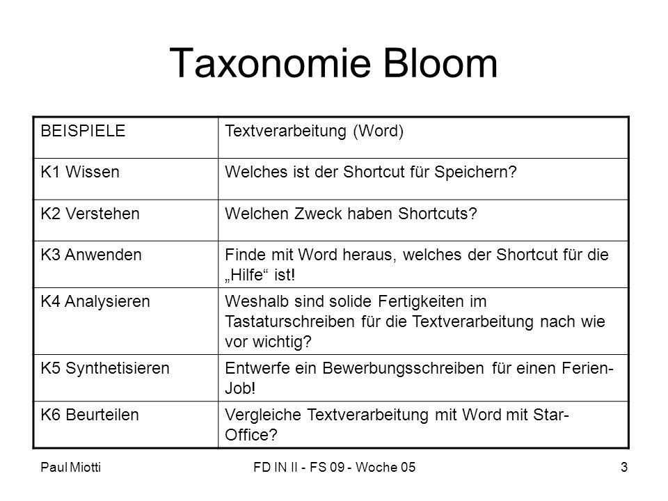 Taxonomie Bloom BEISPIELE Textverarbeitung (Word) K1 Wissen