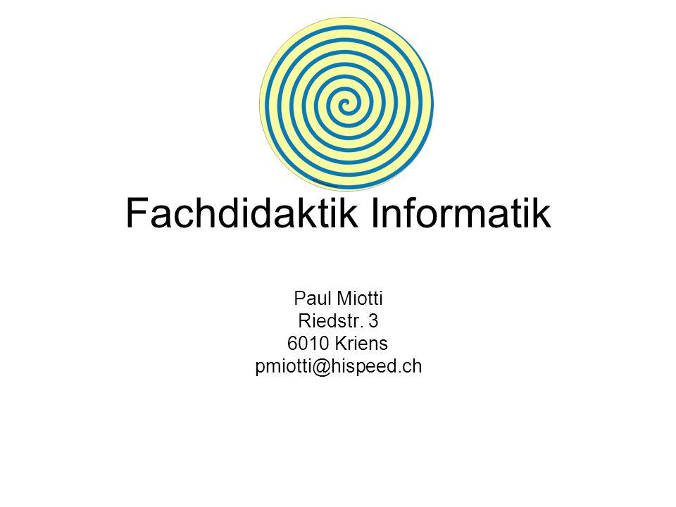 Fachdidaktik Informatik