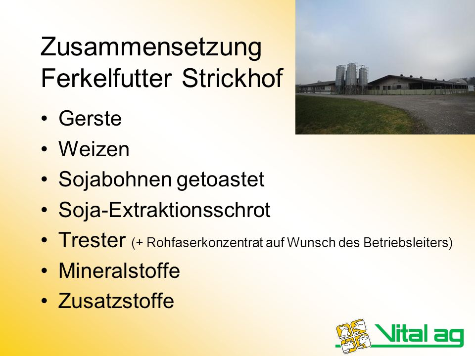 Zusammensetzung Ferkelfutter Strickhof