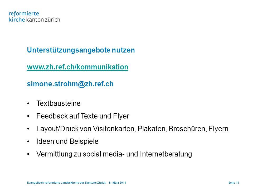 Unterstützungsangebote nutzen www.zh.ref.ch/kommunikation