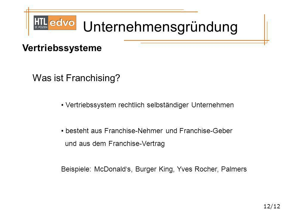 Vertriebssysteme Was ist Franchising