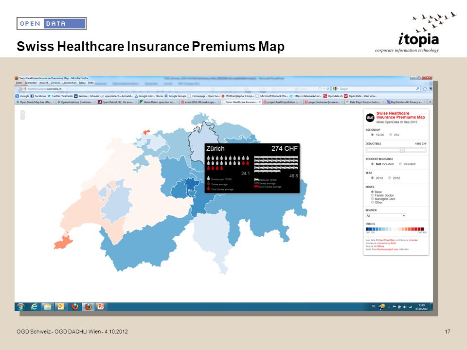 Swiss Healthcare Insurance Premiums Map