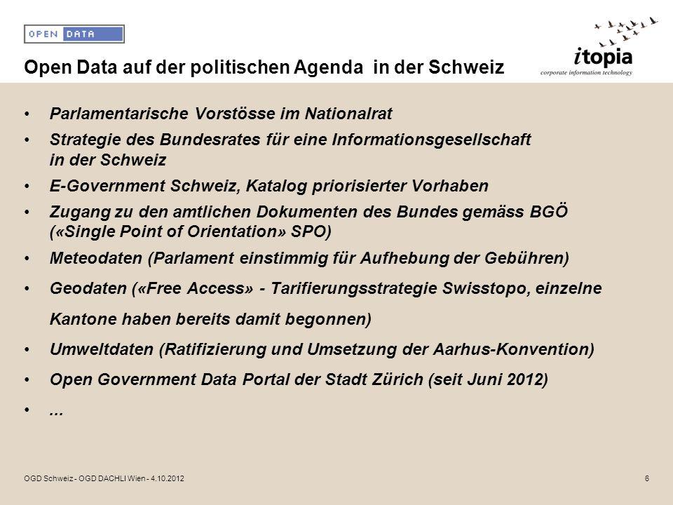 Open Data auf der politischen Agenda in der Schweiz